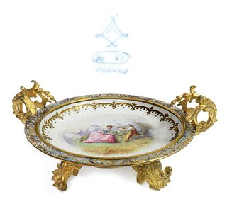 French Sevres Champleve Enamel & Bronze Centerpiece