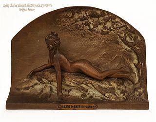 Avant le Bain, Original L. Alliot Bronze Figural Plaque