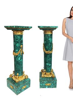 Pair of Large French Ormolu Mounted Malachite Pedestals