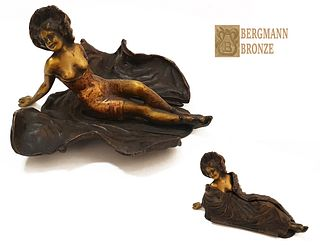 Uncovered Lady, F. Bergman Moveable Bronze Statue