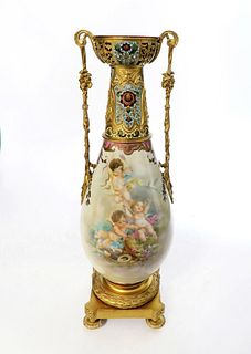 19th C. French Bronze Mounted Champleve Sevres Vase