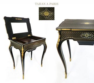 Alfonse Tahan Fine French Ebonised Poudreuse. 19th C.