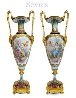 A Very Fine 19th C. Pair of Sevres Gilt Bronze Vases