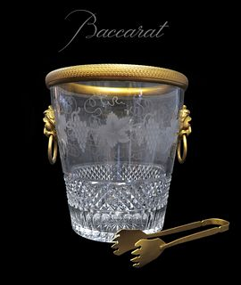 BACCARAT EMPIRE DORE BRONZE MOUNTED CRYSTAL ICE BUCKET