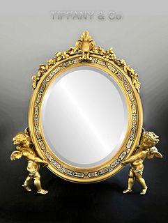 19th C. Tiffany & Co Figural Bronze Champleve Mirror