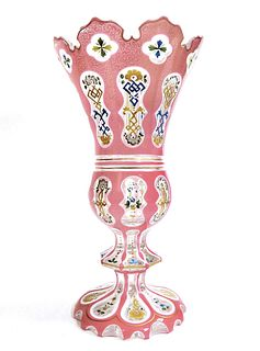 19th C. Large Bohemian Cut Crystal Vase