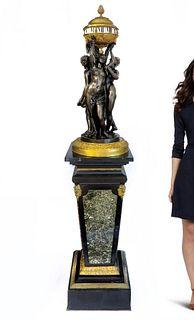 Henri Dasson Large Figural Bronze Rotary Clock