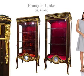 Exceptional Near Pair of F. Linke Bronze Vitrines