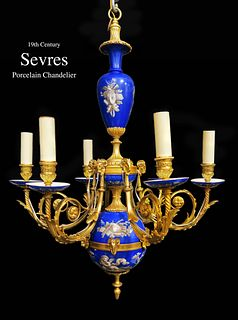 19TH C. FRENCH SEVRES BRONZE CHANDELIER 6-Light