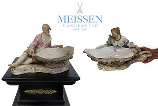 A Pair of 19th C. Large Meissen Sweet Meat Dishes