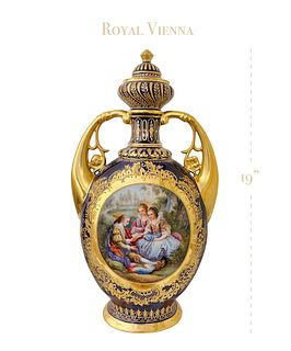 A Royal Vienna Hand-Painted Porcelain Lidded Urn