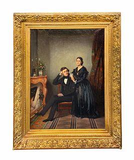 Antoine Gibert Oil On Canvas Painting, 19th C.
