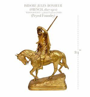Arab on Horseback Gilt Bronze Statue, Bonheur, 19th C.