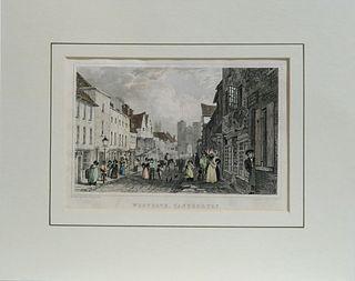 19th C. Westgate Canterbury engraved by H.Adlard