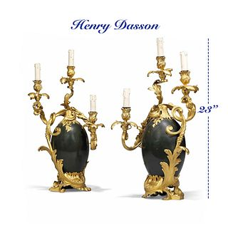 Pair of Henry Dasson Gilt/Patinated Bronze Candelabras