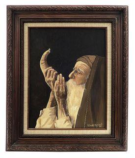 Rabbi Blowing the Shofar Oil on Canvas by Bigelow