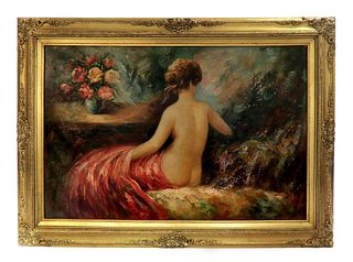 An Oil on Canvas Semi-nude lady Signed Painting