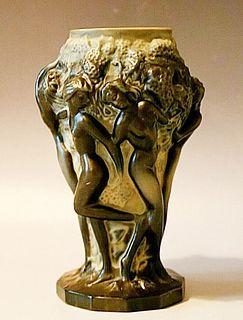 An Art Deco Bohemian Malachite Glass Figural Vase