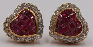 JEWELRY. Pair of 18kt Gold, Ruby and Diamond