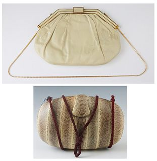 One Vintage Judith Leiber Ivory Painted Snakeskin Handbag and a Rafael Sanchez Snakeskin Handbag, the first with golden brass art deco accents, the cl