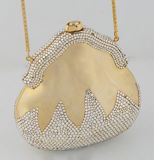 Vintage Finesse La Model Gold Bejeweled Pear Evening Bag, with a snap closure, the interior of the bag lined in brown velvet, with optional gold chain