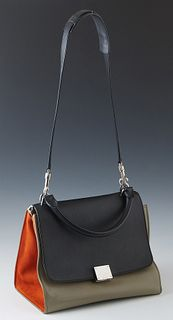 Celine Tri-Color Trapeze Bag, with silver hardware and box flap closure, the interior of the bag lined in taupe leather with two open side compartment