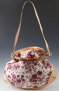Gucci Pink Floral Canvas Medium Peggy Bamboo Handbag, with tan leather accents and silver hardware, the interior of the bag lined in beige canvas with