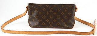 Louis Vuitton Brown Monogram Coated Canvas Trotteur Handbag, with golden brass accents, adjustable vachetta strap, opening to brown canvas interior an