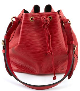 Louis Vuitton Noe Red PM Epi Leather Shoulder Bag, with red stitching and brass hardware, opening to a black suede interior with key ring, the strap w