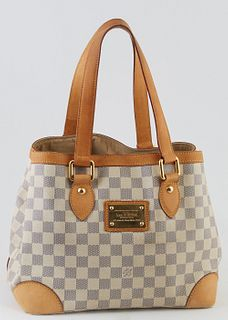 Louis Vuitton Ivory Damier Azur Coated Canvas PM Hampstead Shoulder Bag, the vachetta leather accents and straps with golden brass hardware, opening t