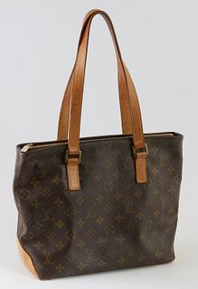 Louis Vuitton Brown Monogram Coated Canvas Cabas Piano Shoulder Bag, the exterior bottom with light vachetta leather and the top with vachetta leather