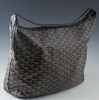 Goyard Fidji Black and Brown Leather Hobo Bag, with silver hardware, the interior of the bag lined in beige canvas, with a single black leather strap,
