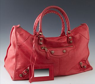 Balenciaga Coral Pink Leather Giant Handbag, with brass hardware, the interior of the bag lined in black canvas with a zip closure pocket on one side