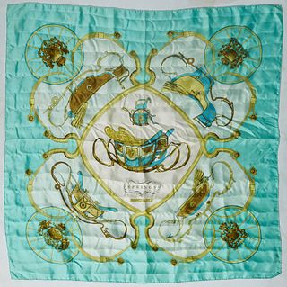 Hermes 'Springs' Silk Scarf, by Philippe LeDoux, first issued in 1974, with a carriage motif and teal background, with hand rolled edges, H.- 36 in.,