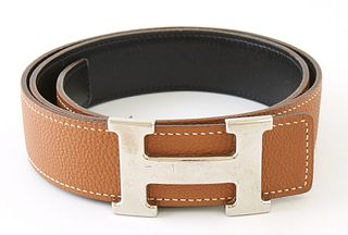 Hermes Silver H Belt, with brown and black calf leather, L.- 31 1/2 in.