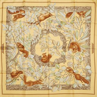 Hermes 'Casse-Noisette' Silk Scarf, by Antoine de Jacquelot, first issued in 1997, on a yellow background, with signature hand rolled edges, H.- 35 in
