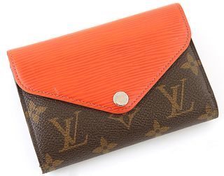 Louis Vuitton Marie-Lou Wallet, the brown monogram coated canvas and orange epi leather with silver button snap, opening to one card holder, one coin