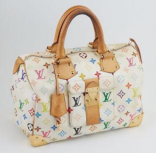Louis Vuitton White Coated Canvas Multicolor Monogram 30 Speedy Handbag, with golden brass hardware and vachetta leather accents, opening to a blood r