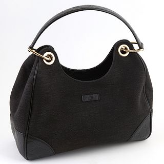 Gucci Black Canvas Colbert Hobo PM Shoulder Bag, with gold hardware, opening to a black canvas lined interior with a zip closure side pocket, the hand