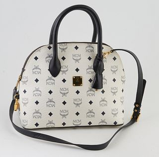 MCM Navy Blue and White Visetos Coated Canvas Zip Dome Shoulder Bag, the gold accents with adjustable shoulder strap, gold cadena and keys in clochett