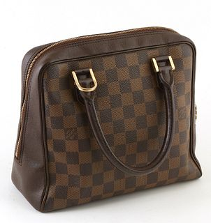 Louis Vuitton Brown Damier Ebene Coated Canvas Brera Handbag, the exterior with golden brass hardware, opening to a burnt umber suede interior with a