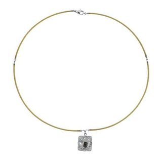 Charriol 18k Gold Steel Diamond White Topaz Pendant Necklace
