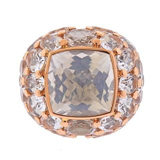 Mimi Milano 18k Gold Crystal Cocktail Ring