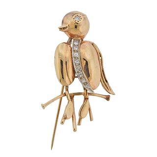 14k Gold Diamond Bird Brooch Pin