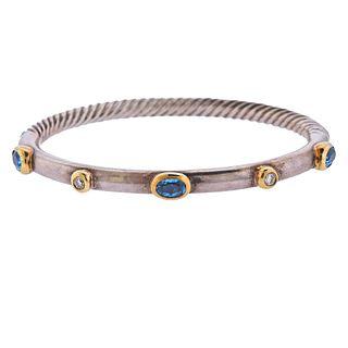 David Yurman 18k Gold Silver Diamond Topaz Cable Bracelet