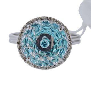 Vianna Brasil 18k Gold Paraiba Tourmaline Crystal Diamond Ring
