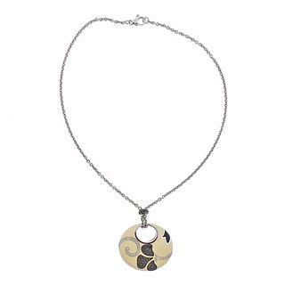 La Nouvelle Bague 18k Gold Diamond Enamel Pendant Necklace