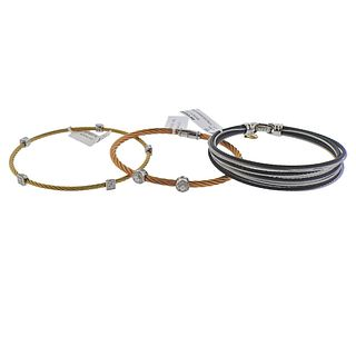 Charriol Alor 18k Gold Steel Diamond Bracelet Lot 3pc