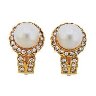 18k Gold Pearl Diamond Earrings