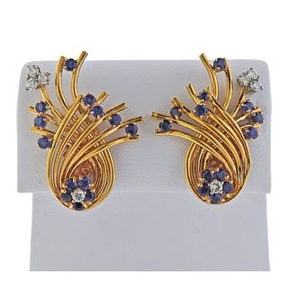 Mid Century 14k Gold Diamond Sapphire Earrings
